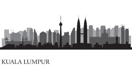 Kuala Lumpur city skyline  silhouette illustration
