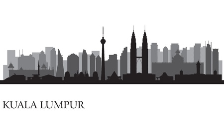 Kuala Lumpur Skyline Silhouette Illustration Standard-Bild - 20910694