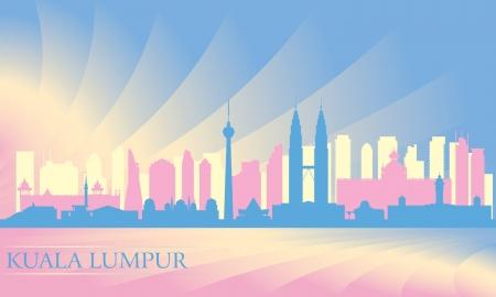 Kuala Lumpur stad skyline silhouet illustratie Stock Illustratie