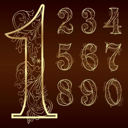 Set of vintage floral numbers  Vector illustration
