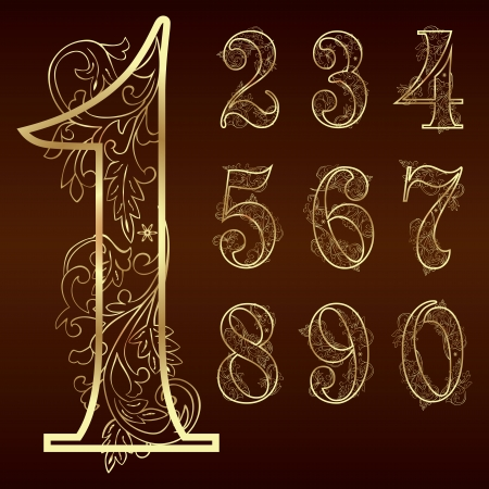Set of vintage floral numbers  Vector illustration   Vector