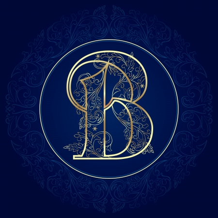 Vintage alphabet floral, lettre B Vector illustration Banque d'images - 21636913