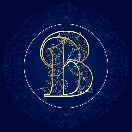 Vintage floral alphabet, letter B  Vector illustration