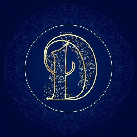 Vintage floral alphabet, letter D  Vector illustration    イラスト・ベクター素材