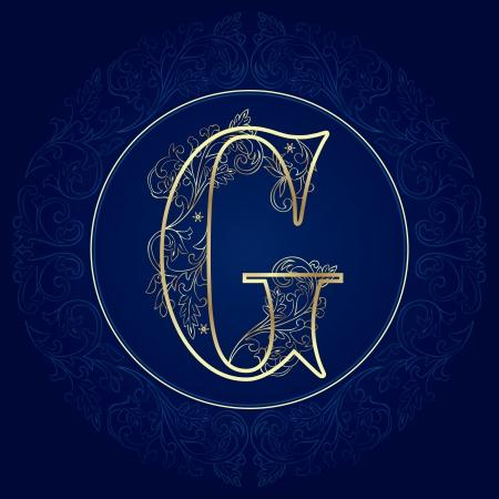 g alphabet: Vintage floral alphabet, letter G  Vector illustration