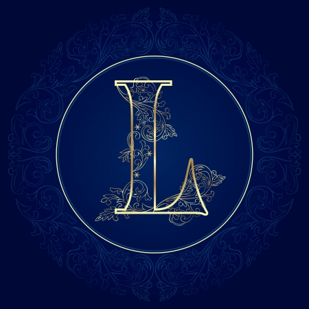 Vintage floral alphabet, letter L  Vector illustration