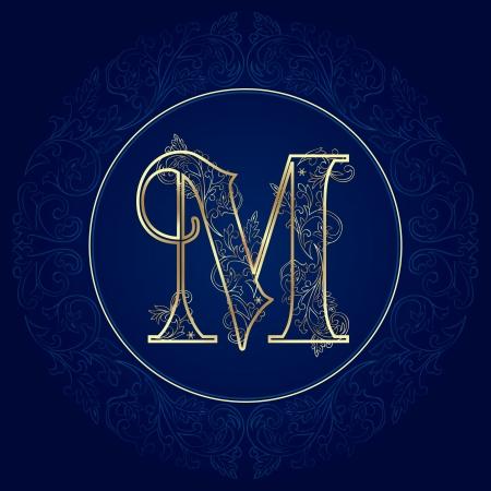 Vintage floral alphabet, letter M  Vector illustration    イラスト・ベクター素材