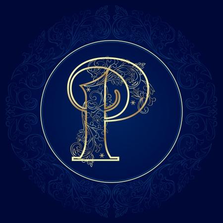 Vintage floral alphabet, letter P  Vector illustration   Ilustração