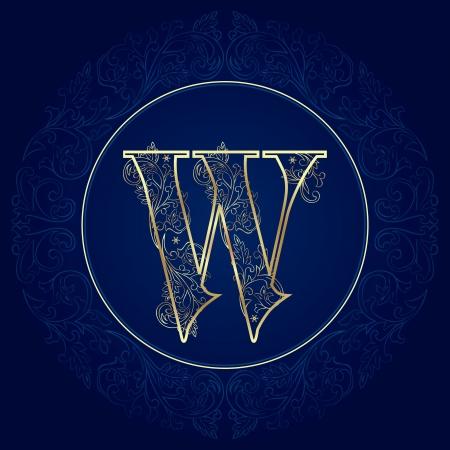 letter w: Vintage floral alphabet, letter W  Vector illustration