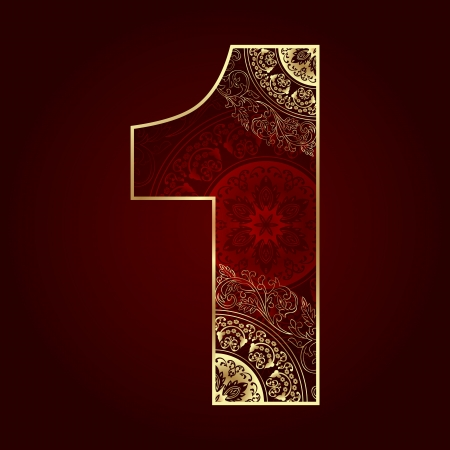 Vintage number 1 with floral swirls  Vector illustration Stock Vector - 21655688