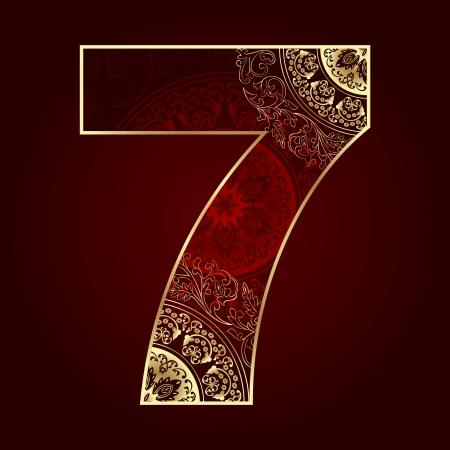 Vintage number 7 with floral swirls  Vector illustration