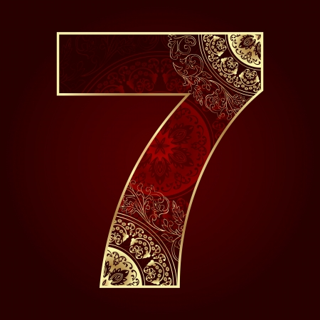 numbers background: Vintage number 7 with floral swirls  Vector illustration