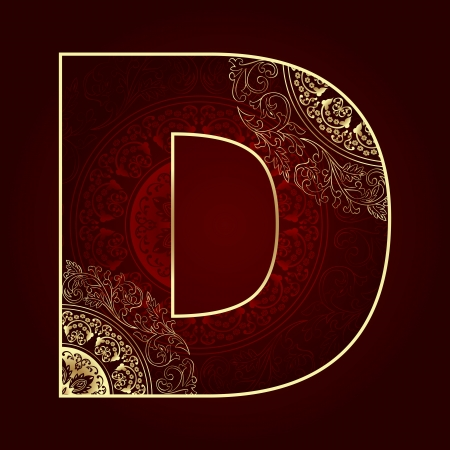 d: Vintage alphabet with floral swirls, letter D  Vector illustration   Illustration