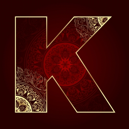 Vintage alphabet with floral swirls, letter K. Vector illustration   Stock Vector - 21655713