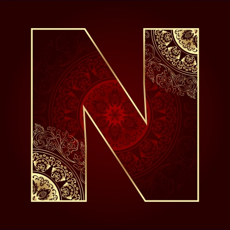 letter n: Vintage alphabet with floral swirls, letter N. Vector illustration