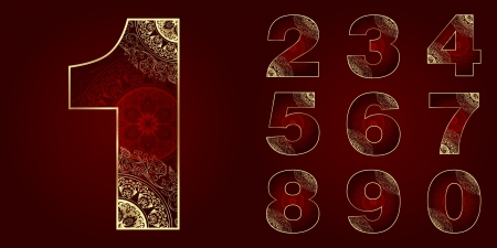 Vintage Numbers Set with floral swirls. Vector illustration   Vector