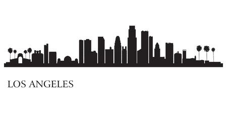 ロサンゼルス市のスカイライン シルエット背景