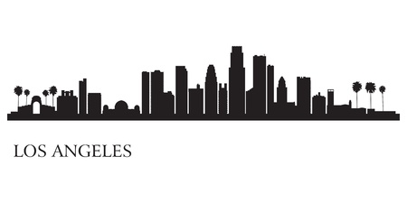 landmarks: Los Angeles city skyline silhouette background                             Illustration