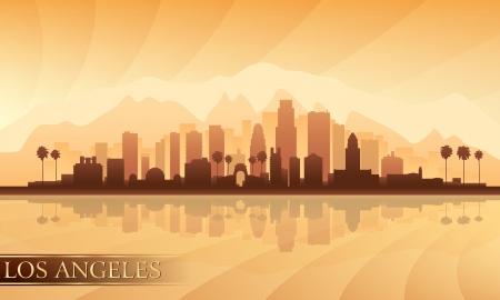 california coast: Los Angeles city skyline detailed silhouette