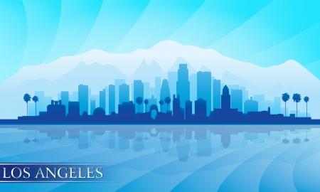 city lights: Los Angeles city skyline detailed silhouette