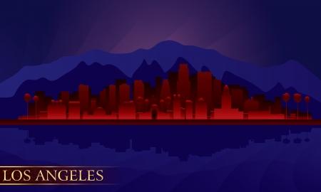 los angeles: Los Angeles Nacht Skyline der Stadt detaillierte Silhouette