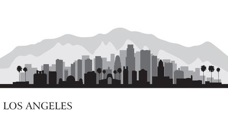 로스 앤젤레스 도시의 스카이 라인의 상세한 실루엣