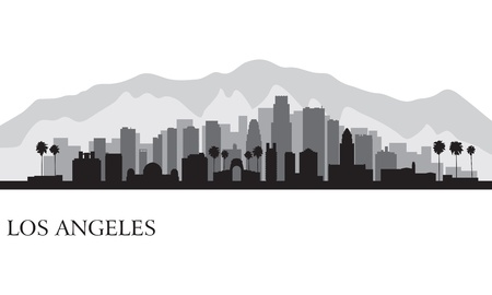 modern illustrations: Los Angeles city skyline detailed silhouette
