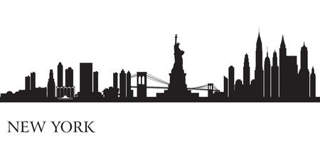 ニューヨーク市のスカイライン シルエット背景ベクトル イラスト