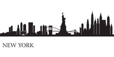 new york: New York city skyline silhouette background  Vector illustration