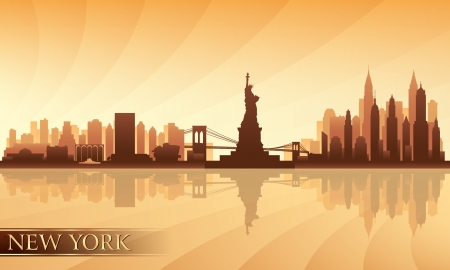 city lights: New York  city skyline detailed silhouette