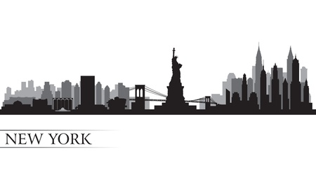 New York city skyline detailed silhouette  Vector illustration Çizim