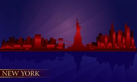 new york night: New York night city skyline detailed silhouette   Illustration