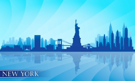 city lights: New York city skyline detailed silhouette.