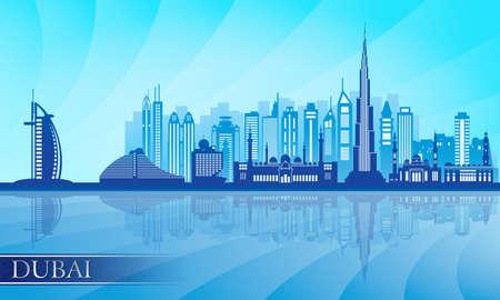 panorama: Dubai city skyline detailed silhouette.