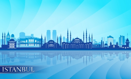 turkey istanbul: Istanbul city skyline detailed silhouette illustration