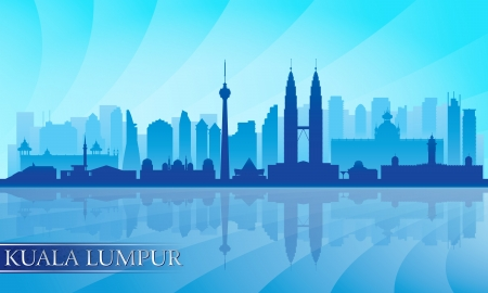 waterfront: Kuala Lumpur city skyline detailed silhouette. Vector illustration