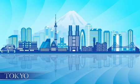 Tokyo city skyline detailed silhouette. Illustration