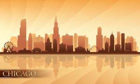 Chicago city skyline detailed silhouette.  Illustration