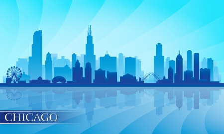 Chicago city skyline detailed silhouette.  Illustration