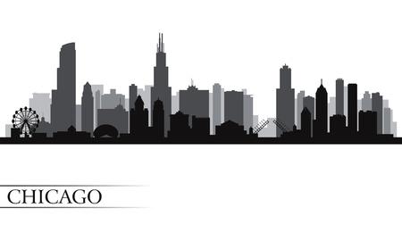 都市のシカゴのスカイライン詳細なシルエット。