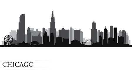Chicago city skyline detailed silhouette.  Иллюстрация