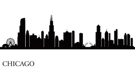 novios silueta: Chicago horizonte de la ciudad de fondo la silueta.