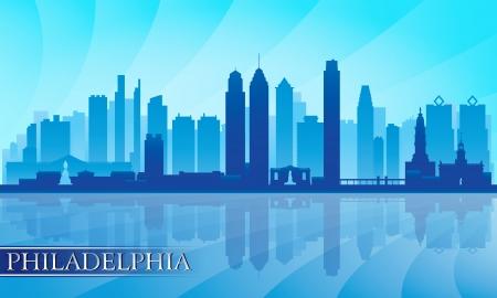 Philadelphia city skyline detailed silhouette  Vector illustration  向量圖像
