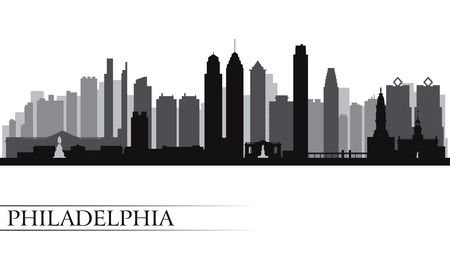 Philadelphia city skyline detailed silhouette  Vector illustration  Illustration