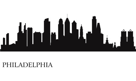 Philadelphia city skyline silhouette background Vector illustration