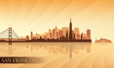 San Francisco skyline silhouet achtergrond Vector illustratie Stock Illustratie