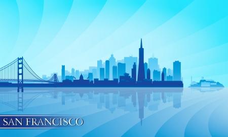 San Francisco city skyline silhouette background  Vector illustration