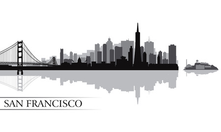 san francisco: San Francisco city skyline silhouette background  Vector illustration
