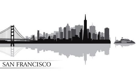 dorado: San Francisco de la ciudad horizonte la silueta ilustración vectorial Vectores