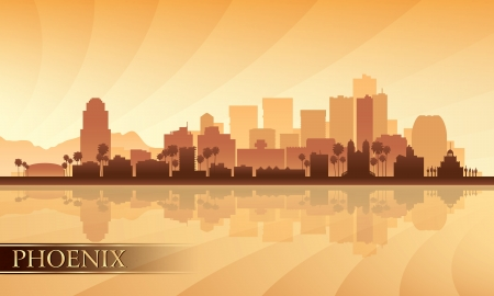 phoenix arizona: Phoenix city skyline silhouette background  Vector illustration
